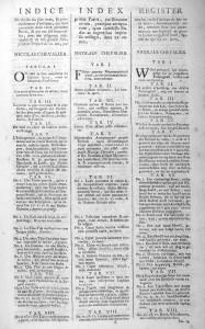 Chevalier, Utrecht 1712 : l' «Indice»