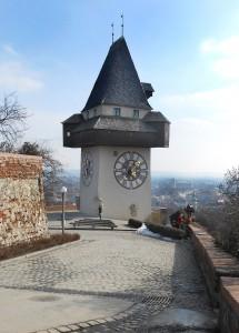 Tour de l'horloge au Schlossberg à Graz. © Joelle Rochas