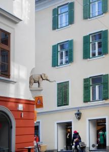 Elephant de l'archiduc Charles dans la rue du Nouveau Monde (Neue Welt Gasse) à Graz © Joelle Rochas