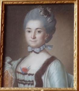 Pastel : portrait de Catherine Claudine de Chaponay, marquise de Quinsonas (1746-1826), tableau du XVIIIe  siècle, collection privée Bruno de Quinsonas